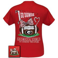 New Georgia Bulldogs Anchor Bow Girlie Bright T Shirt Available in sizes- S,M,L,XL,2X