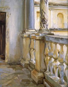 John Singer Sargent (American, 1856-1925), Villa Papa Giulio: Study of a Balustrade, c.1906-07. Oil on canvas. Private collection.