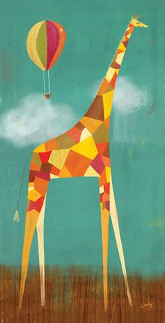 "Great shop for nursery art!    Too Tall Giraffe 8"" x 16"" Print. $40.00, via Etsy."
