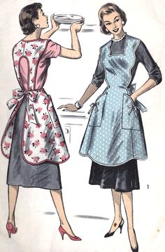 """Advance 8161 Sewing Pattern 'Cover-Up Apron' with Scalloped Bib-Top; circa 1956…"