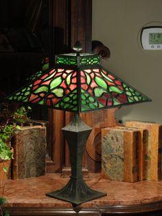 Early Gothic Multi Piece Slag Glass Fleur de Lis Lamp