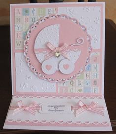 New Grandparents by Michele G - Cards and Paper Crafts at Splitcoaststampers Baby Girl Cards, New Baby Cards, Baby Shower Cards, Baby Shower Invitations, New Grandparents, Congratulations Baby, Stampinup, Stamping Up Cards, Pop Up Cards