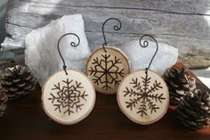wood burned christmas ornaments | Snowflake Ornaments Set of 3 Woodburning on by TwigsandBlossoms