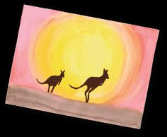 Michaels Australia Craft- Outback Sunset Painting - Girl Scout Crafts - Welcome Australia Crafts, Australian Animals, Australian Art For Kids, Michael S, Girl Scout Crafts, World Crafts, Thinking Day, Indigenous Art, Animal Crafts