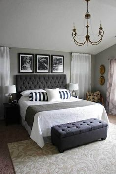 51 Cozy Grey Bedroom Designs With Upholstered Tufted Headboard T Master