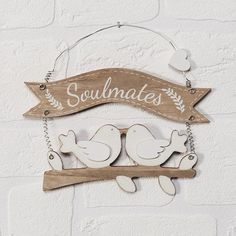 """The """"Two Birds """"Soulmates"""" MDF Plaque"""" is a really cute hanging MDF sign. Consits of the word Soulmates, with 2 love birds kissing. A really nice idea for an engagement gift, ideal for hanging up in the couples home. Two Birds, Love Birds, Engagement Signs, Banner Shapes, Wooden Plaques, Shape Design, Chic Wedding, Really Cool Stuff, Two By Two"""