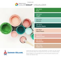 I found these colors with ColorSnap® Visualizer for iPhone by Sherwin-Williams: Envy (SW 6925), Argyle (SW 6747), Refresh (SW 6751), Country Squire (SW 6475), Naive Peach (SW 6631), Mellow Coral (SW 6324), Persimmon (SW 6339), Tower Tan (SW 7704).