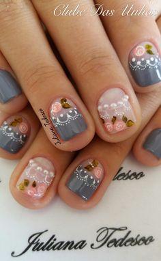 Super nails art rose et gris ideas Gorgeous Nails, Love Nails, Fun Nails, Pretty Nails, Nail Shapes Square, Romantic Nails, Rose Nail Art, Trendy Nail Art, Super Nails
