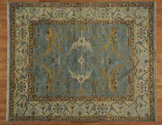 8' x 10' Sky Blue Oushak Oriental Rug Handmade 100% Wool Silver Wash