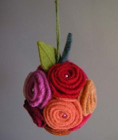 rose pomander made from felted wool