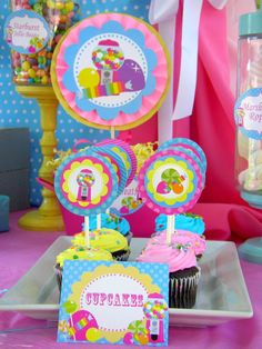 SWEET SHOPPE Place Cards or Food -  Candyland - Lollipop - Sweet Shop - Bubble Gum - Girls Birthday Party - Candy Land -  Krown Kreations