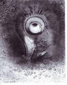 """Odilon Redon, il y eut peut-être une vision première essayée dans la fleur, de la série Les Origines, 1883, lithographie, Milan, Civica Raccolta delle Stampe Achille Bertarelli. """"produire chez le spectateur une sorte d'attirance diffuse et dominatrice dans le monde obscur de l'indéterminé"""". imitation du dessin au fusain : technique aborde avec soin méticuleux. Il travaille la matrice de façon obsessionnelle (retouches) jusqu'à un point d'équilibre idéal."""