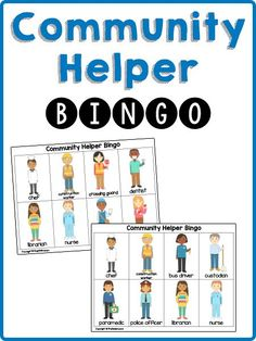 These printable bingo cards teach children to recognize and name community helpers. Includes both photo and illustrated card sets. For pre-k, preschool, ...