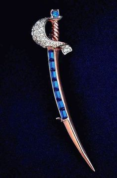RARE Vintage CORO Sterling Silver Brooch Adolf Katz Sword Vermeil Rhinestone Jewels c.1945