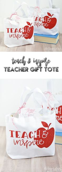 Spoil those teachers this year with a Teach & Inspire Teacher Gift Tote filled with all kinds of goodies that the teacher is sure to love! Your Cricut makes this a quick + easy project!
