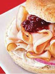 Cranberry Turkey Bagel Sandwich – Treat yourself to a deli-style bagel sandwich at home—stuffed with cream cheese, smoked turkey and whole berry cranberry sauce.