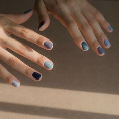 Right Now, the Trendiest Nail Polish Color Is 'All of Them' - Nageldesign - Nail Art - Nagellack - Nail Polish - Nailart - Nails - Two ways to do a rainbow manicure – each nail gets painted a wildly different color, or all five - Gradient Nails, Acrylic Nails, Ombre Nail, Blue Nails, Blue Gel, Hot Nails, Hair And Nails, Nagel Stamping, Multicolored Nails