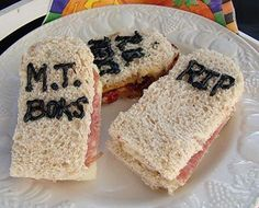 Healthy Snack Recipes for Halloween -Tombstone Sandwiches Recipe