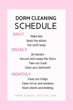 The Ultimate Guide On Keeping Your Dorm Room Clean My dorm room felt so much cleaner after using the dorm room cleaning schedule. Here's the ultimate guide on how to keep your dorm clean and how to clean it. Room Cleaning Tips, Diy Home Cleaning, Cleaning Checklist, Cleaning Hacks, College Checklist, College Life Hacks, Dorm Life, College Hacks, Clean Fridge