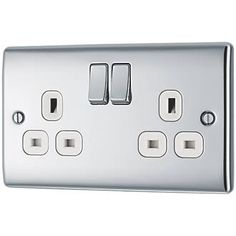 British General Nexus Metal DP Switched Plug Socket Polished Chrome with White Inserts Toggle Light Switch, Round Corner, Polished Chrome, Plugs, Metal, British, Bedroom, Design, Design Comics