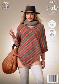 Square Poncho and Pointed Poncho in King Cole Riot Chunky (3482) | Deramores