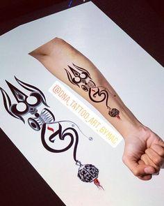 Buddha Tattoo Design, Shiva Tattoo Design, Armband Tattoo Design, Hindu Tattoos, New Tattoos, Small Tattoos, Tattoos For Guys, Om Trishul Tattoo, Trishul Tattoo Designs