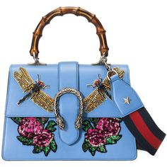 Gucci Dionysus Embroidered Leather Top Handle Bag (€3.755) ❤ liked on Polyvore featuring bags, handbags and light blue