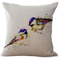 Painting Two Birds Pillow Case