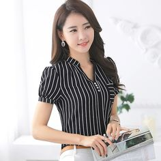 2016 Summer fashion stripe shirt female V-neck short-sleeve chiffon women blouse office formal Business plus size work wear tops Office Uniform For Women, Cool Outfits, Fashion Outfits, Women's Fashion, Dress Picture, Shirts For Girls, Blouses For Women, Work Wear, How To Wear