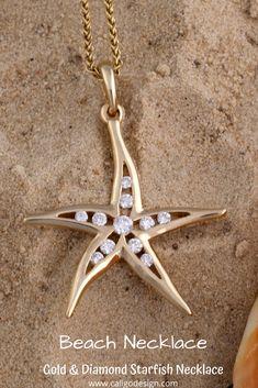Diamond Starfish Necklace - Starfish Jewelry by Caligo Design - Nature Inspired Jewelry - #starfishPendant #starfishNecklace #starfishJewelry #diamondStarfishNecklace #seaStarNecklace #asteroideaJewelry #seaLifeJewelry #oceanLifeNecklace #oceanJewelry #seaLifeNecklace #beachMemories #natureInspiredJewelry #14KgoldStarfish #14KdiamondStarfishNecklace #goldStarfishPendant #beachNecklace Ocean Jewelry, Nautical Jewelry, Beach Jewelry, Star Necklace, Pendant Necklace, Diamond Jewelry, Gold Jewelry, Starfish Necklace, Nature Inspired
