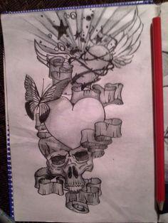 Skull heart art tatoo