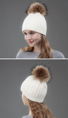 b5237b00441 OHCOXOC New Women Beanies Real Mink Fur Pom Poms Ball Cap Keep Warm Beanies  Skullies Solid Striped White Color Girl Winter Hat Brand Name OHCOXOCItem  ...