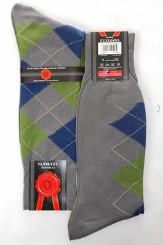 Gray Blue Green Argyle Mens Dress Sock - Vannucci $7.00
