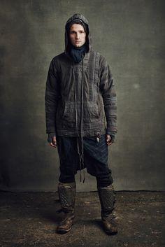 Greg Lauren Fall 2016 Menswear Fashion Show.  Pieced hoody.  Textures.