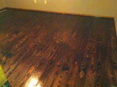 dark wood floor with pine wood trim Pine Trim, Wood Trim, Dark Wood Floors, Pine Floors, Alternative Flooring, Heart Pine Flooring, Knotty Pine, Dark Stains, Cabin Fever
