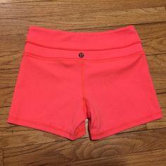 Lululemon Orange workout gym shorts - size 4 Lululemon Orange workout gym shorts - size 4. Waist - 12.5 inches. Length - 11 inches. Excellent condition. lululemon athletica Shorts
