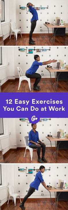 Save this for 12 easy exercises you can do at work.