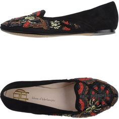 House Of Harlow 1960 Moccasins ($42) ❤ liked on Polyvore featuring shoes, loafers, black, black leather moccasins, black beaded shoes, round toe shoes, embroidered shoes and flat shoes
