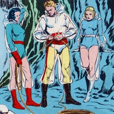 Dale Arden and Queen Fria eyeing up Flash Gordon - The Ice Kingdom of Mongo, art by Alex Raymond (1939)