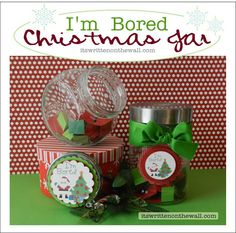 """It's Written on the Wall: (Freebie) Christmas Jar """"I am Bored"""" Tags - Filled with Fun Activities for the kid's Christmas Vacation Neighbor Christmas Gifts, Neighbor Gifts, Christmas Candles, Christmas Love, All Things Christmas, Winter Christmas, Christmas Crafts, Celebrating Christmas, Christmas Ideas"""