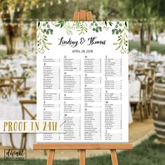 Wedding Seating Chart, Seating Chart Alphabetical, Seating Chart by Name, Sprigs Seating Chart Poster by Table Number - Britany by DIVart on Etsy