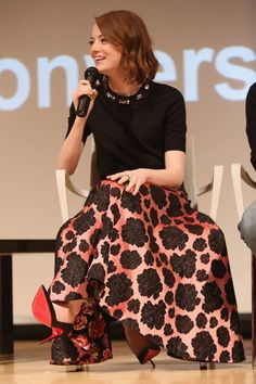 """Emma Stone in Lanvin at SAG Foundation Conversations: """"Birdman"""" Emma Stone, Modest Dresses, Modest Outfits, Ema Watson, Red Carpet Looks, Mode Style, Lanvin, A Line Skirts, Celebrity Style"""