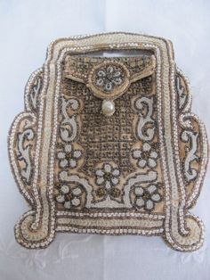 ANTIQUE VINTAGE ART DECO FLAPPER BEADED & SEQUIN PURSE BAG c1930