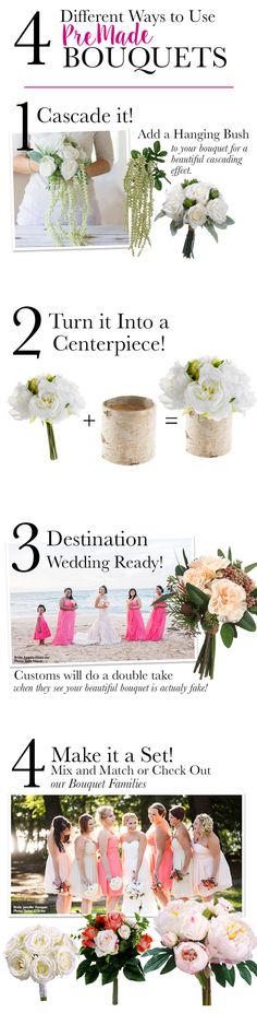 Start your DIY wedding flowers with a pre-made bouquet from Afloral.com.  You can combine 2 for a bride or use a single bouquet for the bridesmaids.  Simple centerpeice solutions and great for destination wedding.  Premade bouquets are the best way to save money on your wedding flowers.