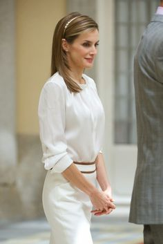 """21 JULY 2014 King Felipe and Queen Letizia King Felipe and Queen Letizia attended a reception to members of the """"Ruta Quetzal BBVA 2014"""" expedition at El Pardo Palace in Madrid"""