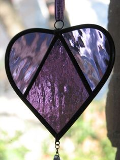 'Stained Glass Suncatcher Purple Heart with Teardrop Crystal' by BrightMoonDesigns