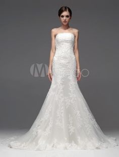 Court Train Strapless Bridal Wedding Dress-No.4