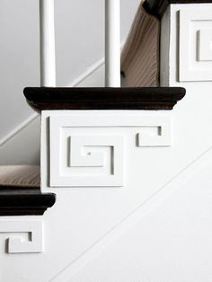 flat molding accents on staircase
