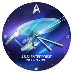 New Star Trek Enterprise Inch Wood Wall Clock Cordless Wooden Sci-Fi Decor Star Trek Data, Star Trek Ships, Uss Enterprise Ncc 1701, Star Trek Enterprise, Star Trek Spock, Star Trek Tos, Star Trek Theme, Star Trek Generations, Star Trek Images