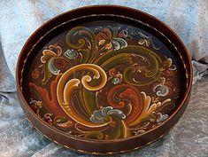 Rosemaling Pattern, Norwegian Rosemaling, Decoupage, Scandinavian Folk Art, Pintura Country, Painted Books, Wooden Bowls, Tole Painting, Paint Designs